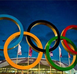 The Olympics' emblem representing the five continents of the world. Photo By: Atos