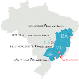 Map displaying the venues where the events will be played. Source: Felipe Menegaz