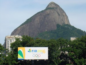 A banner in Rio advertising the 2016 Olympics. Photo By: Rodrigo Soldon