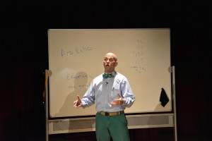 Mr. Seeger performing passionately with minimal props